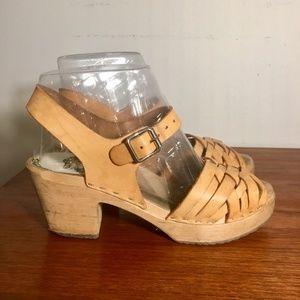 Swedish sandals with clog wood heel 8.5 BOHO